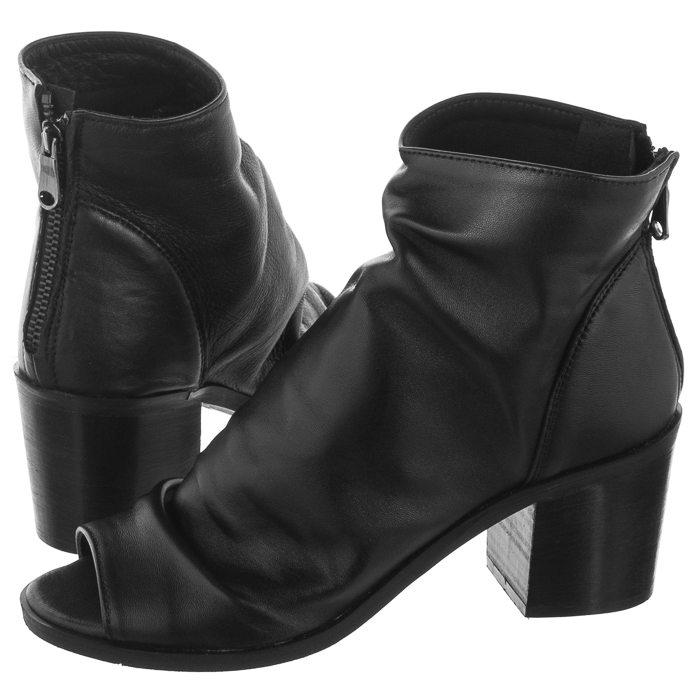 czarne skórzane buty na obcasie venezia z odkrytymi palcami