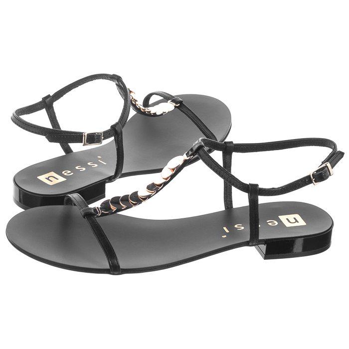 Nessi 19563 Czarny 3 sandały damskie czarne
