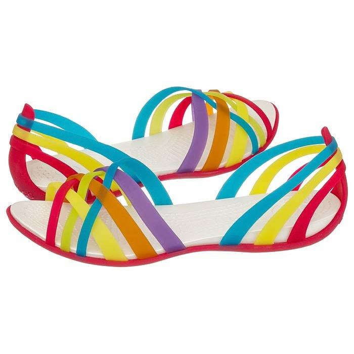 100% autentyczny informacje dla sprzedaż Sandały Crocs Huarache Flat Women Multi / Geranium 14121 w ...
