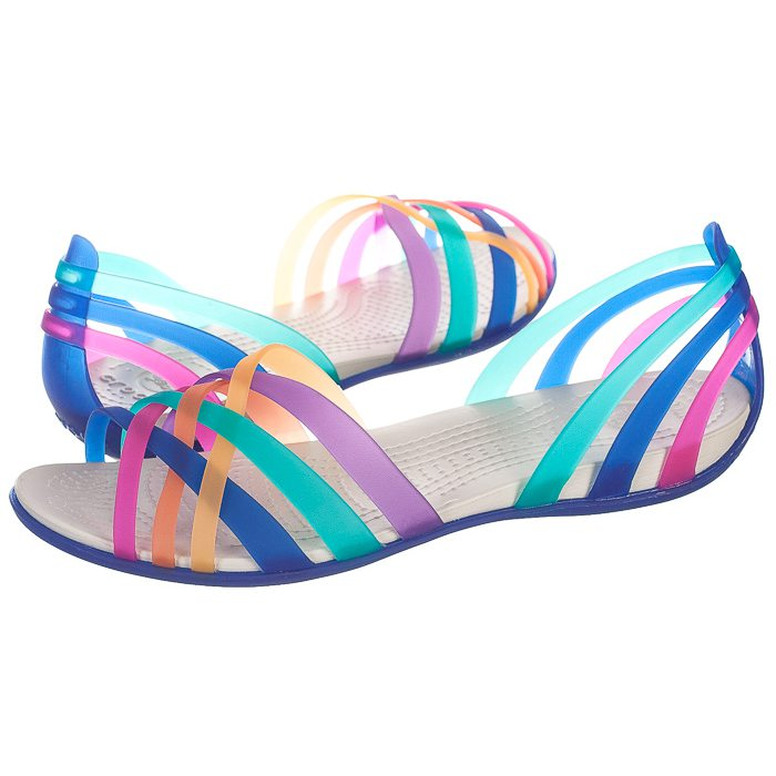 najniższa cena uważaj na nowe tanie Sandały Crocs Huarache Flat Multi/Cerulean Blue 14121-95P w ...