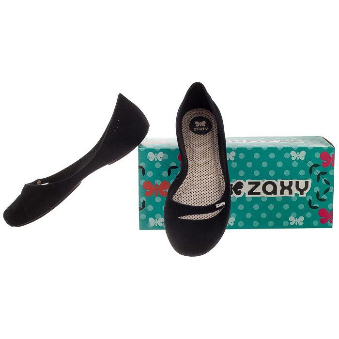 Baleriny Zaxy Flow Flock Sap Fem Czarne U285079 w ButSklep.pl