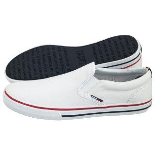 463de04840d93 Tenisówki Tommy Hilfiger Tommy Jeans Textile Slip On EM0EM00002 100/White